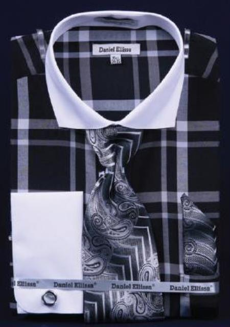 Buy AC-445 Windowpane Plaid Pattern Dress Fashion Shirt/ Tie / Hanky Set White Collar Two Toned Contrast Free Cufflinks Black / White