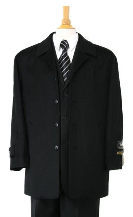 Car coat Luxurious high-quality Woo&Cashmere half-length notch lapel Jet Black Carcoat