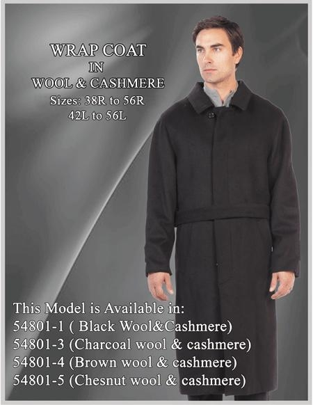 SKU#WP009 Full length Long overcoats ~ Topcoats in wool blend black color 50 inch long