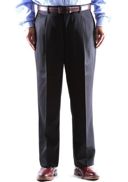 Mens Black Wool Gray Pleated Pants
