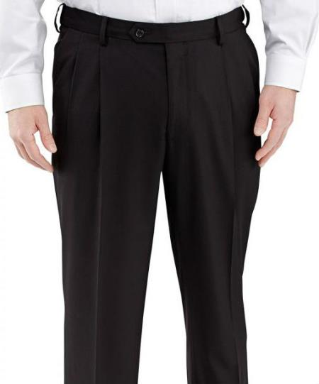 Winthrop & Chruch Mens 100% Wool Pleated Dress Pants Black  unhemmed unfinished bottom
