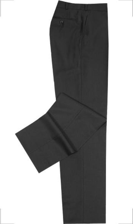 Solid ~ plain front trousers are constructed of high-denier 2-Ply 100% Worsted Wool 8 Colors unhemmed unfinished bottom