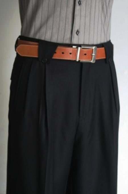 Mens Super 150s 100% Wool Wide Leg Dress Pants / Slacks Black unhemmed unfinished bottom