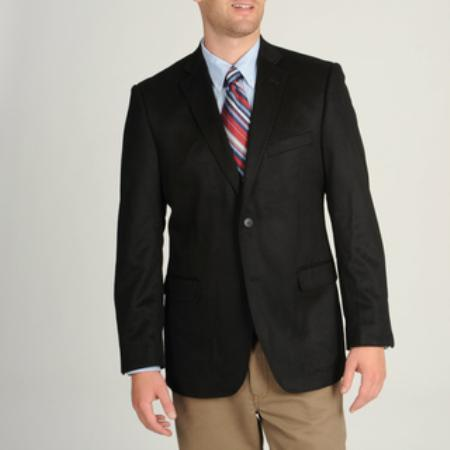 SKU#2BV-J40912C Mens Black Wool & Cashmere Blend Sportcoat