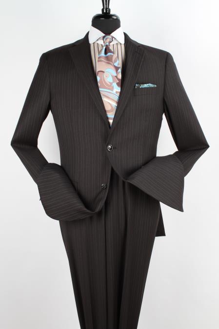 Notch Lapel Black with Light Grey Stripe