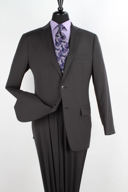 Men's 2 Piece 100% Wool Executive Suit -  Black with Pencil Stripe ~ Pinstripe