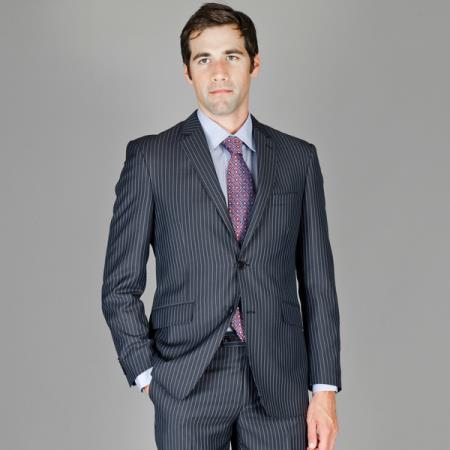 Men's Slim Fit Black Blue Stripe ~ Pinstripe Wool and Silk Blend Suit