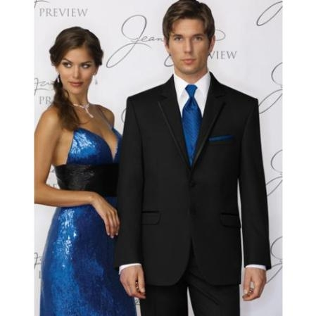 SKU#PZ3839 Tapered Leg Lower Rise Pants & Get Skinny Fitted Slim Fitc Cut (Savoy) Tuxedo – Satin Trim Lapel - Super 100s Wool