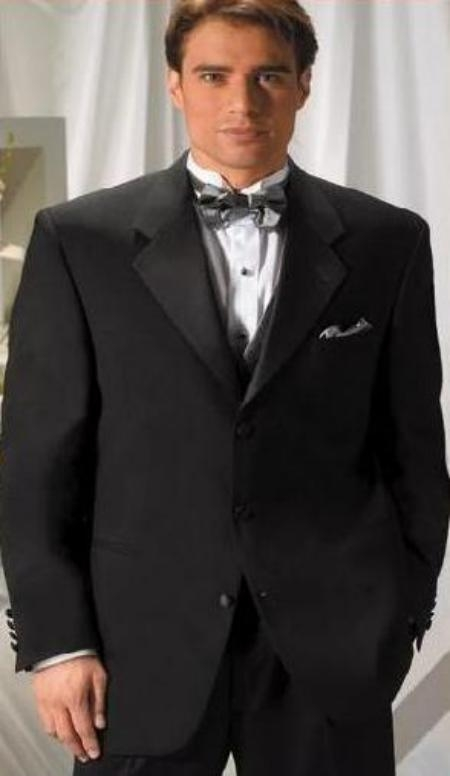 SKU# MUT3 Designer Solid Black Wool Feel Light Weight Soft Poly~Rayon Soft Tuxedo Suit + Shirt + BowTie Package