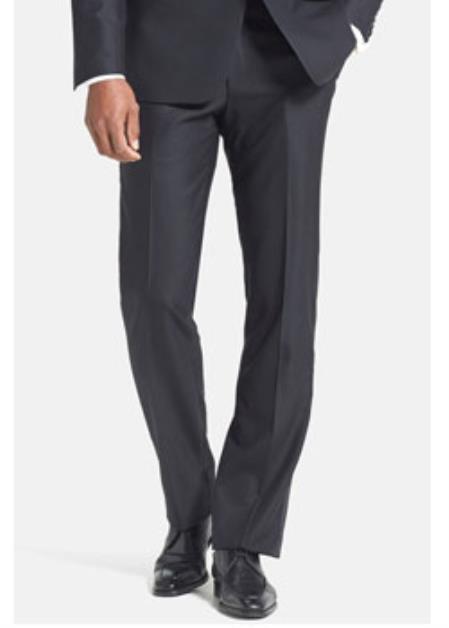 Ike Black Wool Plain Front Tuxedo Pant Ike Evening by Ike Behar Tuxedo Authentic Brand