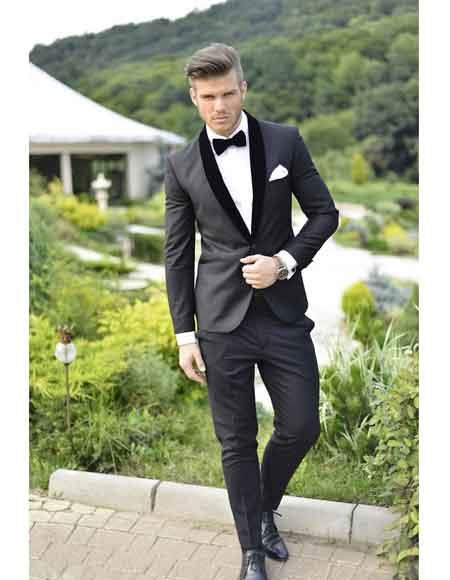 Mens Velvet Lapel Super Fine Wool Suit Or Tuxedo Shawl Collar Or Notch Lapel Black