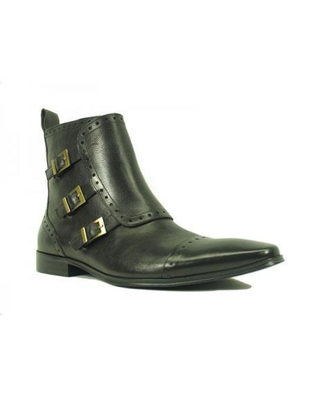 Mens Black Carrucci Burnished Calfskin Boot Slip On Side Zipper Leather Boots