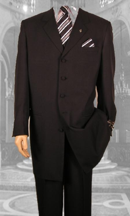 "SKU#Ac125 Mens Solid Simple Liquid Black Fashion Dress 38"" Long Jacket ALL SEASON Zoot Suit"