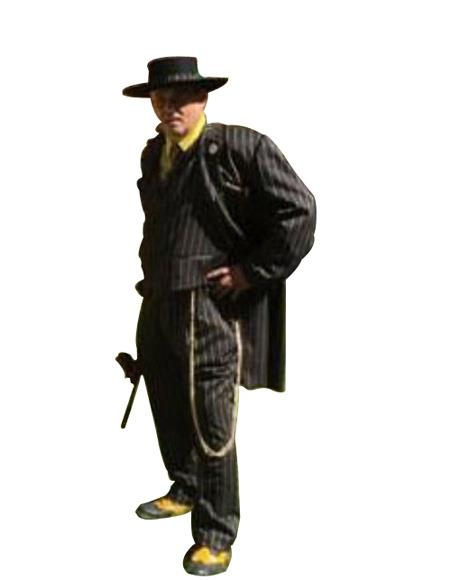 Men's Black and Gold Stripe Long Zoot Suit
