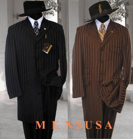 SKU# ZT139 Mens Black or Brown Ton on Ton Stripe Fashion Dress Zoot Suit $149