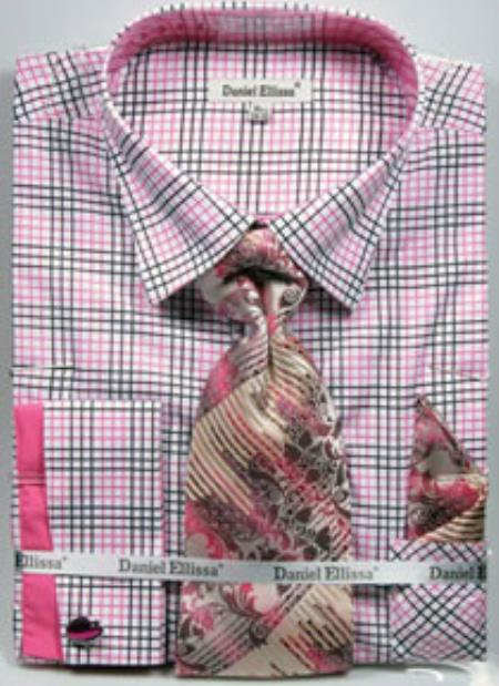 Mens Pink Color Daniel Ellissa Graph Checker French Cuff Dress Shirt Set Black/Fuchsia ~ fuschia