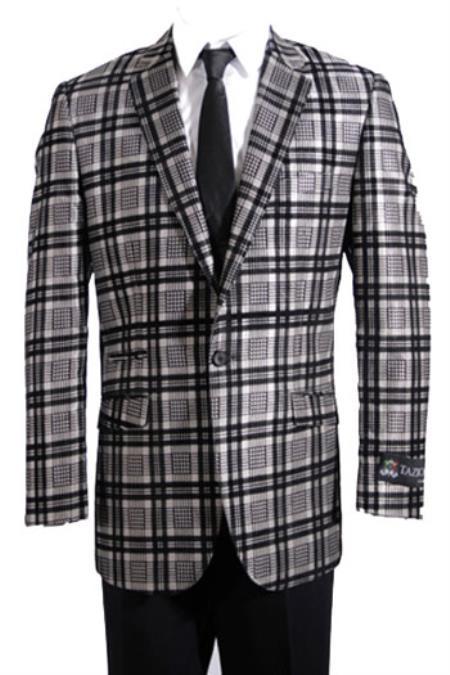 New Vintage Tuxedos, Tailcoats, Morning Suits, Dinner Jackets Mens Slim Fit Sport Coat Blazer Jacket Plaid  Window Pane Beige  Khaki  Tan  Black  Grey $130.00 AT vintagedancer.com
