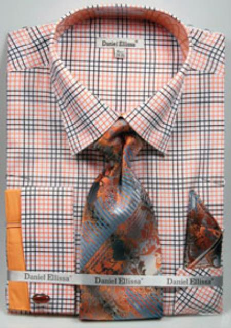 Mens Daniel Ellissa Graph Checker French Cuff Dress Shirt Set Black/Orange