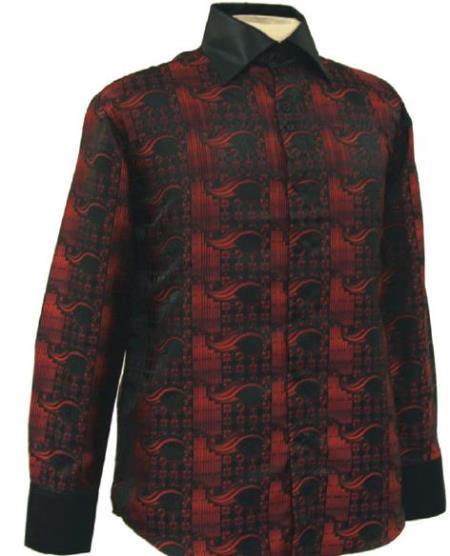 Fancy Polyester Dress Fashion Club Clubbing Clubwear Shirts With Button Cuff Black / Red Men's Dress Shirt Night Club Outfit guys Wear For Men Clothing Fashion