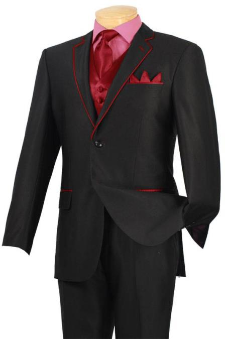 Tuxedo Black Red Trim Microfiber Two Button Notch 5 Piece