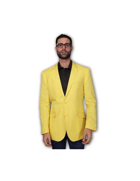 Men's COTTON RAYON Summer Light Weight Linen Fabirc Blazer ~ Sport coat ~ Jacket Yellow