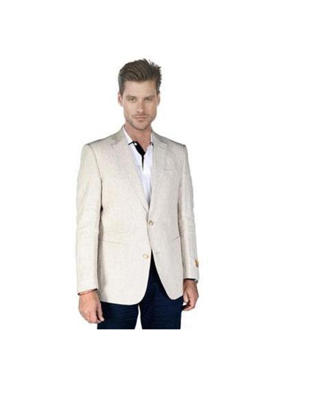 Men's Sand ~ Natural ~ Beige ~ Khaki ~ Tan Linen Blazer Sport Coat Jacket
