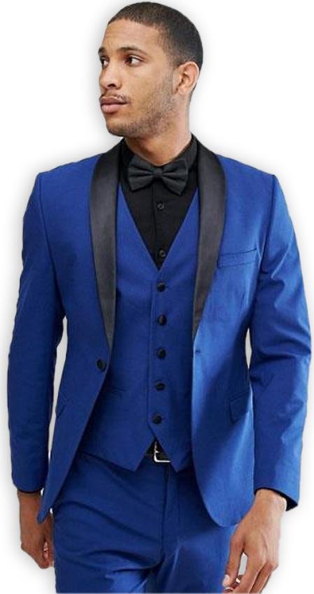 Men's Blue 1 Button Shawl Lapel  Slim Fit Vested Suit