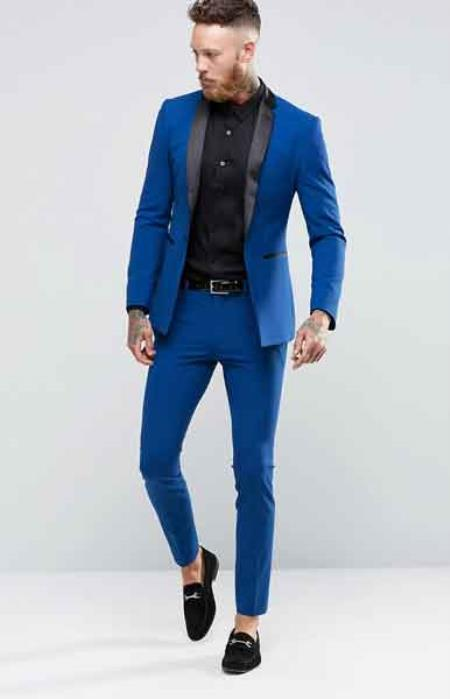 Mens Blue 1 Button Super Skinny Tuxedo Jacket Blazer  (comes with black pants)