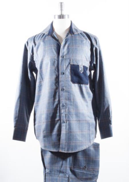 Plaid style Blue Casual