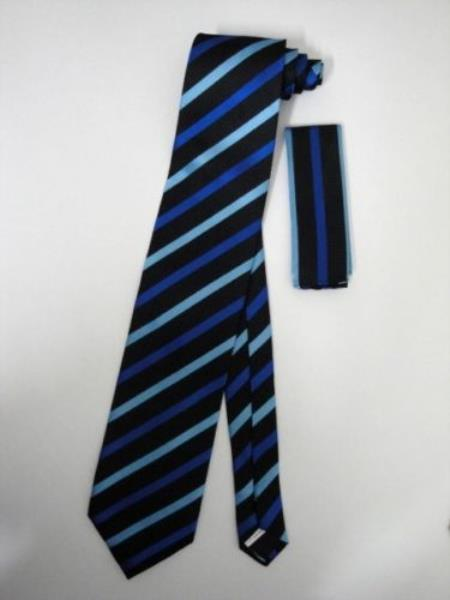 Buy KA3100 Neck Tie Set Black W/ Navy Blue Stripes