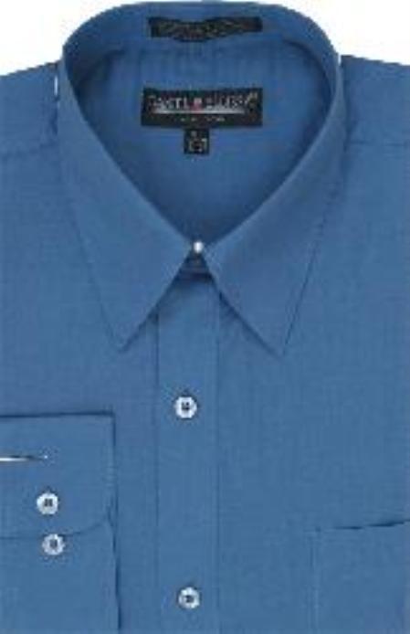SKU#PC354 Mens Denim Blue Dress Shirt