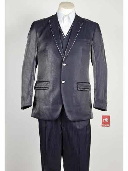 Mens 3 Piece Blue Sharkskin Rhinestone Entertainer Suit