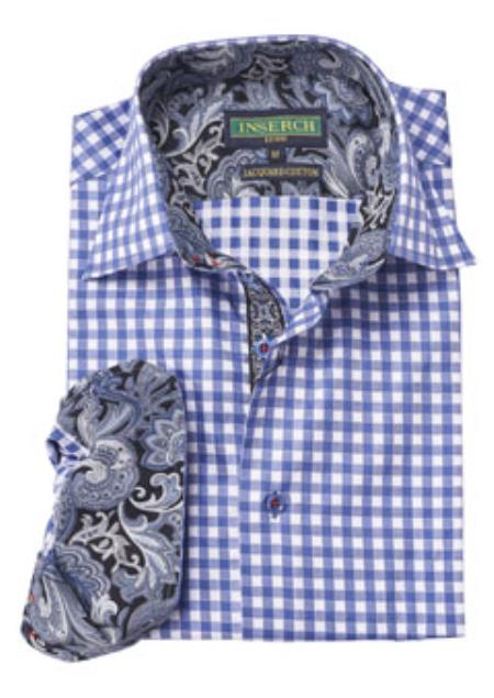 Mens Blue Gingham Plaid
