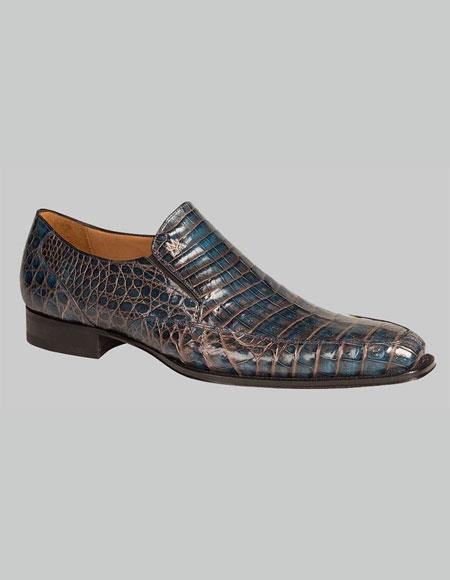 Buy GD340 Men's Mezlan Custom Loafers Blue Two Tone Crocodile Exotic Conner Shoes Authentic Mezlan Brand