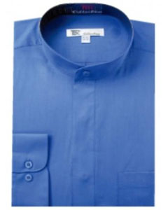 Mens Band Collarless Dress Shirts Blue