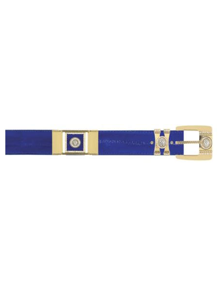 Los Altos Electrical Blue Genuine Eel With Rhinestone / Gold Plated Brackets Belt