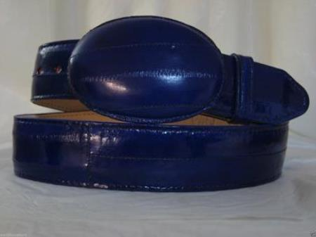 Genuine Authentic Faded Electric Blue Eel Skin Western Cowboy Belt