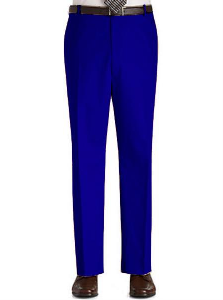 Soft cotton Stage Party classic flat-front Regular Rise Slacks - Royal Blue pants