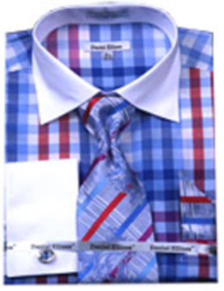 SKU#PN-3S Mens Checker Pattern Multicolor French Cuff Shirts With Cuff Link Blue White Collar Two Toned Contrast (60% Cotton 40% Polyester)