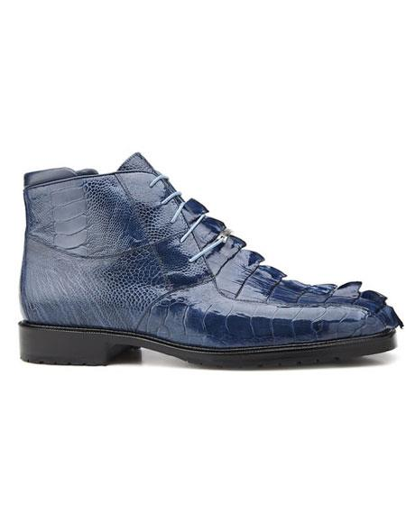 Authentic Genuine Skin Italian Men's Leather Lining Lace Up Blue Jean Shoes