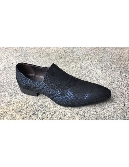 Men's Blue Tiger pattern Genuine Suede Soft Genuine leather Slip-On Stylish Dress Loafer  Unique Zota Mens Dress Shoe