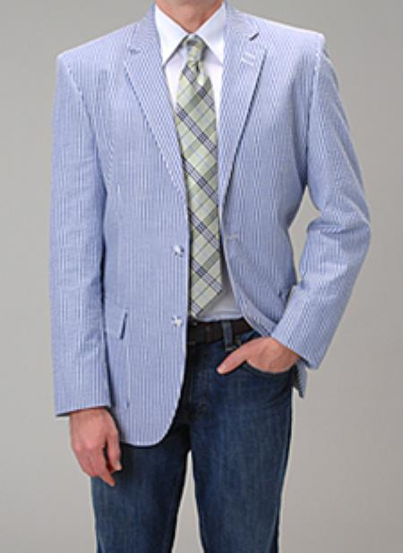 Summer Light Wright Sport coat Blue seersucker ~ sear sucker Blazer
