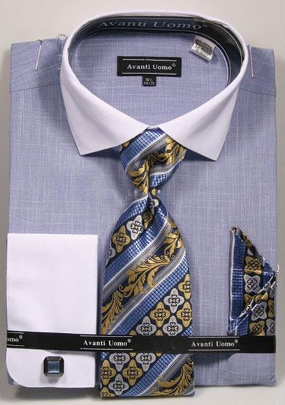 Men's 100% Cotton Fashion Blue Shirt with Tie & Hanky Set