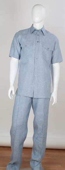 Mens Stripe Accent Blue Shirt Safari Style 2 Piece Short Sleeve Double Chest Pockets Linen Casual Two Piece Walking Outfit For Sale Pant Sets Suit