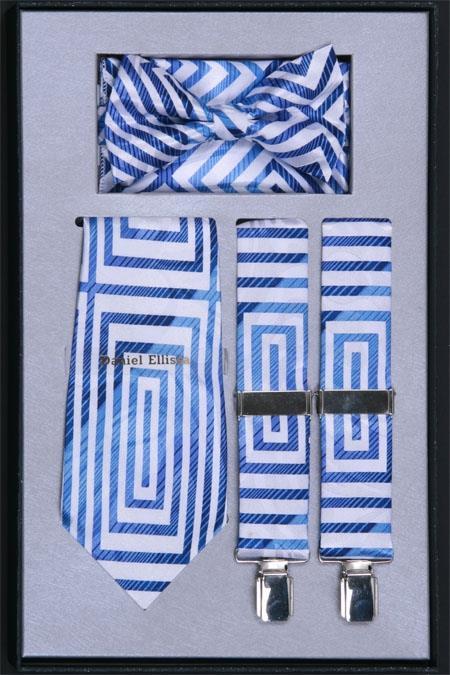Mens Suspender For Men Tie, Bow Tie ~ Bowtie and Hanky Set Light Blue