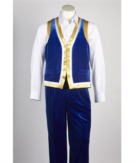 Mens Matching Velvet Pant & Vest set with With Gold Satin Trim Royal Blue