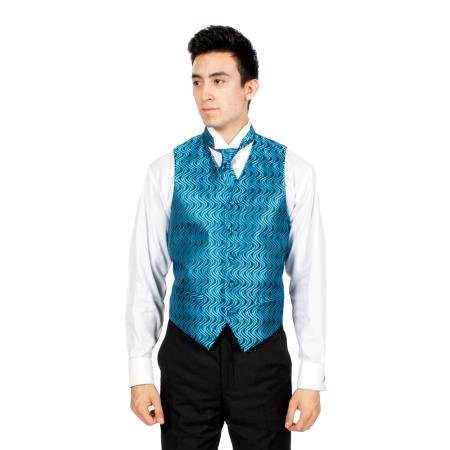 Mens Blue/ Black Ripple Vest, Bowtie Necktie and Handkerchief Set Also available in Big and Tall Sizes