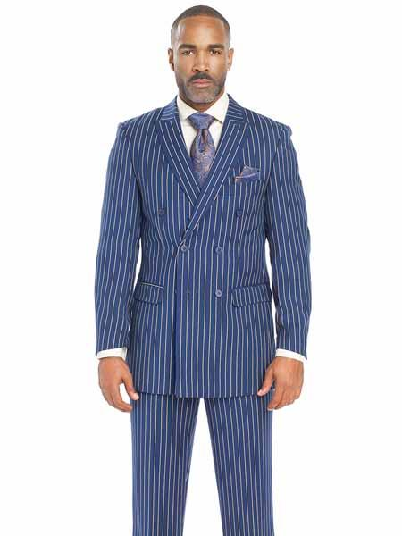 1920s Mens Suits | Gatsby, Gangster, Peaky Blinders Bold Chalk Stripe  Pinstripe White Pinstripe Pleated Pants Suit indigo  Teal  Medium Blue  $140.00 AT vintagedancer.com