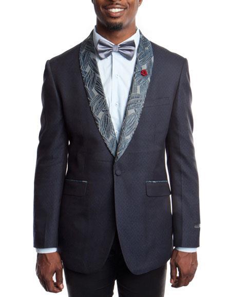Buy KH68 Men's Blue Slim Fit Tuxedo Jacket Floral Pattern Shawl Lapel 100% Wool Blazer