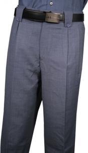 Men's Classic Fit Pleated Front Blue Pin Dot Wool Wide Leg Dress Slacks Men's Wide Leg Trousers
